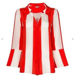 Alice + Olivia Women Shirt Red Striped Silk L nwt